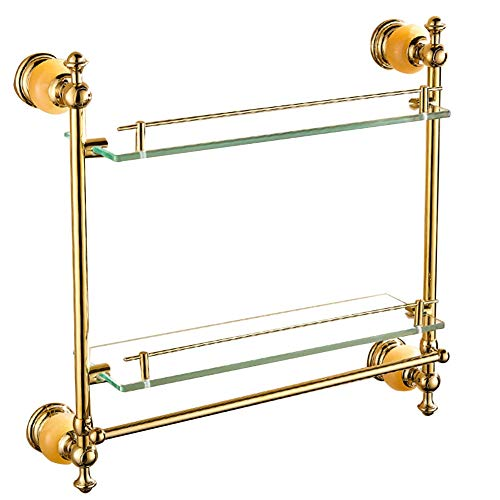 VERY-Bathroom Shelves Shower Organiser European Style Glass Jade Stone Stainless Steel 1/2 Tiers Towel Rack Dressing Table, 3 Styles (Color : Gold, Size : 580x120x550mm) ()