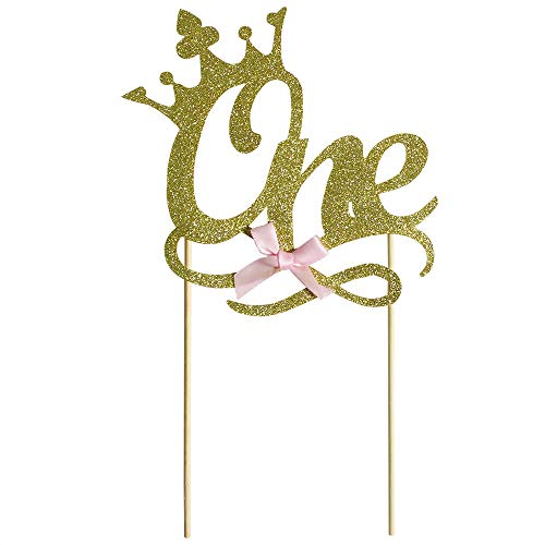 Gold One Cake Topper Wedding Happy Birthday 1st Cupcake Topper for Party Supply Decoration