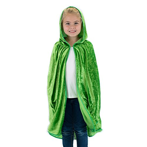 Kids Cosplay Hooded Cloak Cape - Green]()