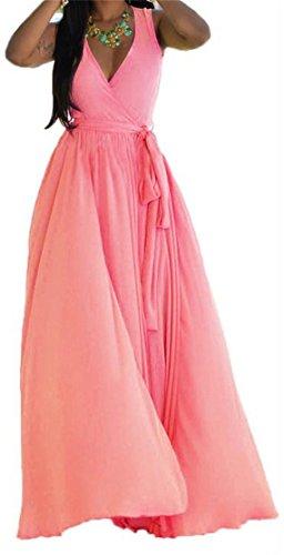 Cross Dress Big Sleeveless Tang Chiffon Dark Womens Sundress Beach Neck V Pink Deep rrYvxwH