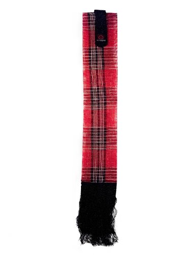 Deluxe Red Plaid Kensington Tail Cover — Fringe Trim Provides Additional Reach — Velcro Fastener Easily Inserts Through Braid — 2  Wide