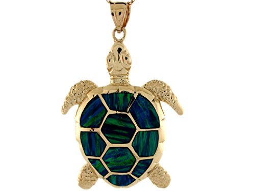 14k Yellow Gold Gorgeous Lined Blue Green Simulated Opal Sea Turtle Pendant by Jewelry Liquidation (Image #1)