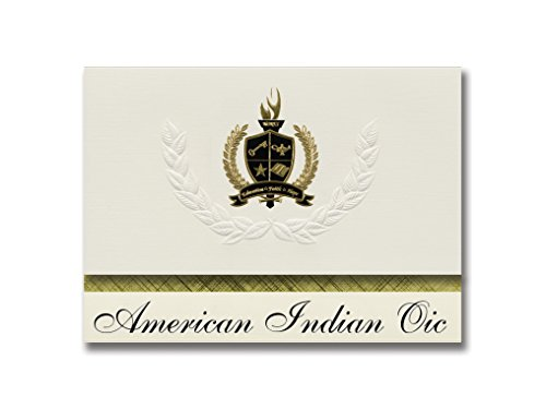 Signature Announcements American Indian Oic (Minneapolis, MN) Graduation Announcements, 25 Pack with Gold & Black Metallic Foil seal, 6.25