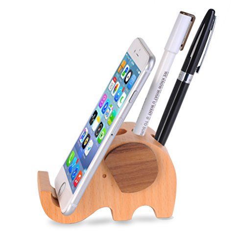 Price comparison product image Cell phone Stand ,Wood Elephant Pen Holder with Phone Holder Desk Organizer Mobile Bracket Stand Storage (Wood)