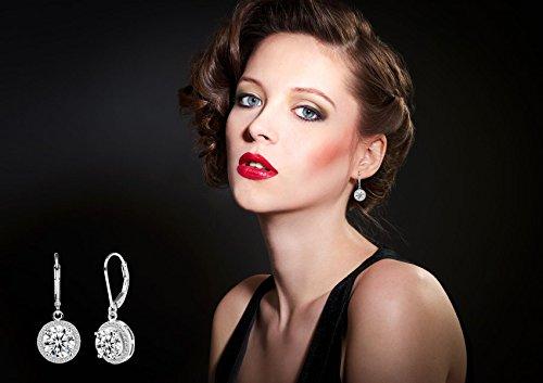 Jane Stone Sterling Silver Earrings Cubic Zirconia Halo Earrings Leverback Earrings Round Rhinestone Dangle Earrings Wedding Jewelry for Women Bridal by Jane Stone (Image #2)