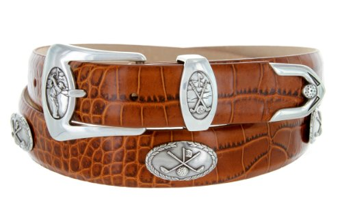 [BC3109 - Men's Italian Calfskin Designer Dress Belt with Golf Conchos (48 Alligator Tan)] (Golf Concho Belts)
