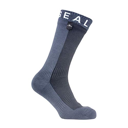 (SEALSKINZ Unisex Waterproof Cold Weather Mid Length Sock, Black/Anthracite, Large)