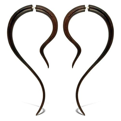 Fake Gauges Brown Wooden Earrings XL Wave Length Fake Plugs