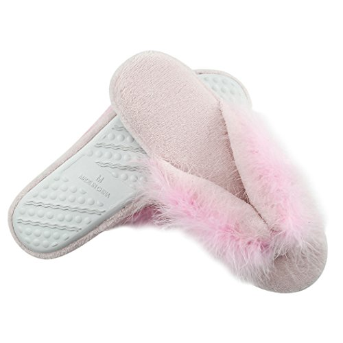 Home Slipper Womens Soft Fleece Indoor Antislip Huis Flip-flops Spa String Slippers Roze Koraal