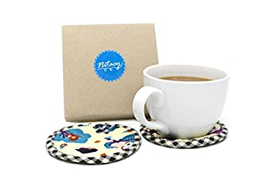 Nitacy Round Fabric Coasters for Drinks Absorbent, Cloth Coaster Set of 4 Handmade Cute Cartoon Pattern Unique Home Decor, Protect Furniture