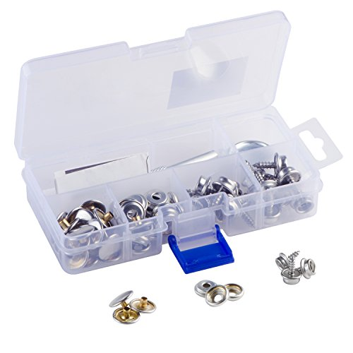 YMAISS 60pcs Fastener Screw Snaps kit in box, Marine Grade 3/8socket with stainless steel 5/11screw with 2pcs setting tools,upholstery snaps for boat canvas,cover.