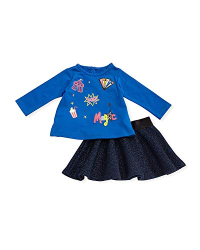 Petit Lem PL Kids Baby Girls Circus Two-Piece Top and Skirt Set Blue Size 9 M ()