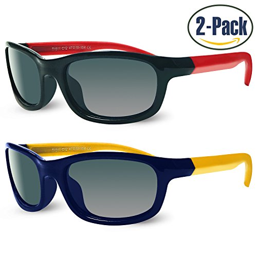 Sunggles Kids Polarized Cateye or Aviator Sunglasses for Girls & Boys Age 3 to 10,Pack of 2 (Boys : Black & Blue, - Glasses Clear Wholesale Aviator