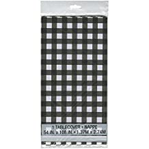 "Black and White Checkered Plastic Tablecloth, 108"" x 54"""