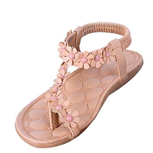 Calzado de mujer,Amlaiworld Zapatos de la playa de Bohemia dulce de abalorios sandalias del dedo del pie del clip Caqui