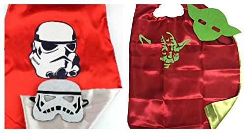 2 Capes, and 2 Masks Yoda & Stormtrooper