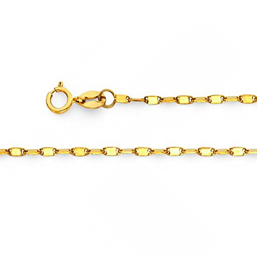 American Set Co. 14k Solid Yellow Gold 1.1mm Twisted Snail Chain Necklace with Spring Ring Clasp - 16