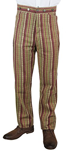 Historical Emporium Men's High Waist Bailey Cotton Striped Dress Trousers 34 Crimson by Historical Emporium