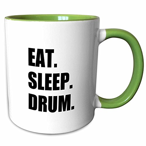 3dRose InspirationzStore Eat Sleep series - Eat Sleep Drum - love drumming. Drummer percussionist black text gifts - 15oz Two-Tone Green Mug (mug_180399_12)
