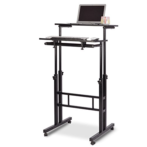 Qwork Wheel Mobile Stand up Computer Desk Height Adjustable Cart Tilting Table With Dual Surface Sit-stand Desk Home Office Computer Workstation Ergonomic Desk, Black by Qwork