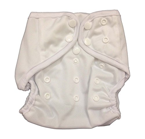 lid Happy Leak-free Snaps Cloth Diaper Cover for Prefolds (One Size, White) ()