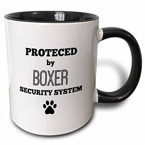 3dRose 221800_4 Protected by boxer security system Ceramic Mug 11oz Black/White