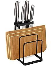 Relaxdays 2-in-1 snijplankhouder & messenhouder, metaal, plankstandaard keuken, messenblok zonder uitgerust, zwart