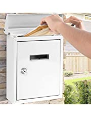 SereneLife SLMAB01 Weatherproof Wall Mount Mailbox-Outdoor Galvanized Metal Key Large Capacity, Commercial Rural Home Decorative & Office Business Parcel Box Package Drop Slot Secure Lock, White