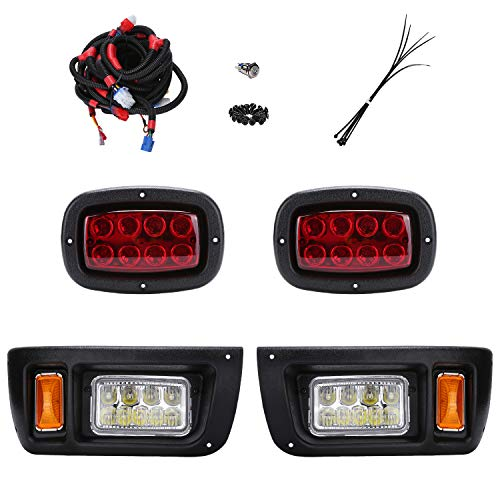 10L0L Golf Cart LED Headlight and Tail Light Kit for 1993-UP Club Car DS Carts with Harness (Must Input 12 Volts)