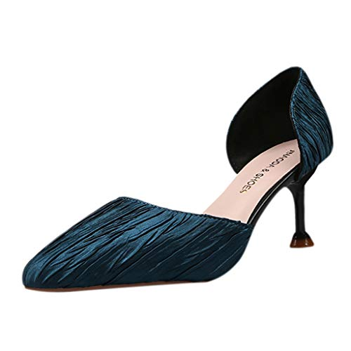 - Cenglings Pumps,Women's Pointed Toe Stiletto Heel Pumps Slip On Shallow Sandals Ruched Office Work Shoes Blue