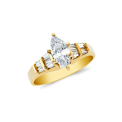 Love Marquise Ring One (Ioka - 14K Yellow Solid Gold 1 Ct. Marquise Cut Cubic Zirconia CZ Wedding Engagement Ring - size 6)