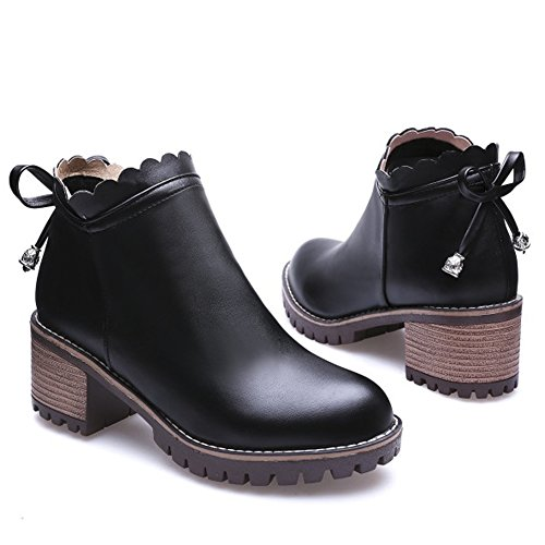 Ankle Chunky Sweet Bowknot Booties PU Decoration Lace Black Surface Women QZUnique Boots Trimmings Low Heel Martin OHFqTn