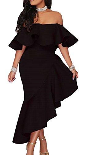 Cromoncent Femmes Sexy Épaule De Solides Volants Irrégulières Longue Robe Noire