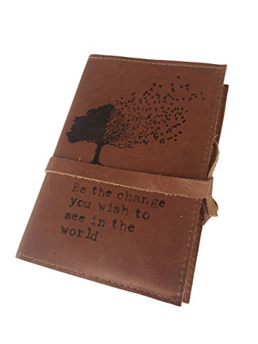 Handmade Leather Journal 4 X 6 Inch Be the Change You Wish to See in the World Tree Design (Brandy)