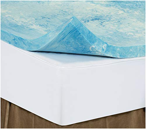 Queen 4 Inch iSoCore Gel Infused Swirl 6.0 Memory Foam Mattress Topper with Expandable Cover and Two Contour Pillows Included