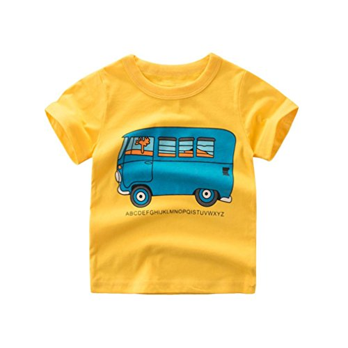 Moonker Baby Tops for 2-7 Years Old,Toddler Infant Boys Girls 2018 Summer New Pattern Short Sleeve Casual Tees T-Shirts (2-3 Years Old, Yellow)