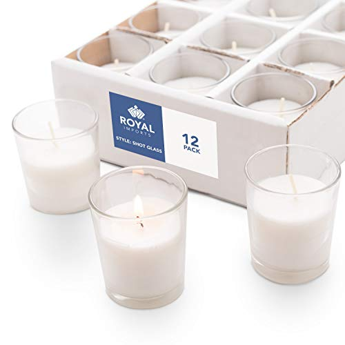 Royal Imports Votive Candles Bulk Set of 12 with White Candles Wax Filled in Clear Glass Holders, Unscented, Ideal for Restaurant, Weddings, Party, Spa, Holiday, Home Decor - 15 Hour Burn Time