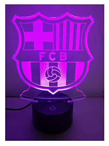 Barcelona FC Football Club 3D Optical Illusion LED Lamps Night Light,Amazing 7 Colors Quick Touch Switch Lamps,USB Powered Deco Lamps,Birthday Christmas Holiday Gift for Kids and Friends