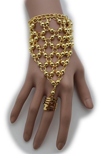 TFJ Women Fashion Jewelry Hand Chain Wrist Bracelet Slave Ring Web Net Belly Dancing Gold Color