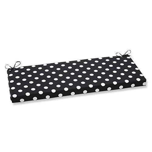 Pillow Perfect Polka Dot Bench Cushion, - Bench White Cushion Black And