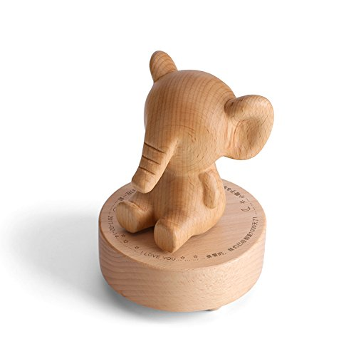 LIWUYOU Custom Wood Clockwork Music Box Engraved Cute Animal Creative Mechanical Musical Home Decoration Engraved with Your Blessings, Elephant by LIWUYOU