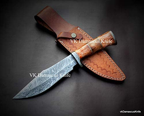 JNR Traders vk0077 Handmade Damascus Steel Bowie Hunting Knife Camel Bone Handle 12.50 Inches