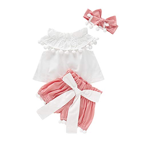 NZRVAWS Baby Girl Clothes with Bowknot Headband, 2-Piece Cute Infant Newborn Girl Pant Set for Summer