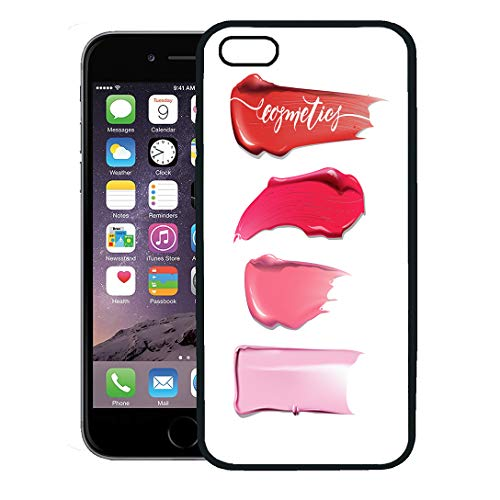 Semtomn Phone Case for iPhone 8 Plus case,Pink Makeup Collection of Various Smears Lipstick on Beauty and Cosmetics Leaflet Beige Make iPhone 7 Plus case ()