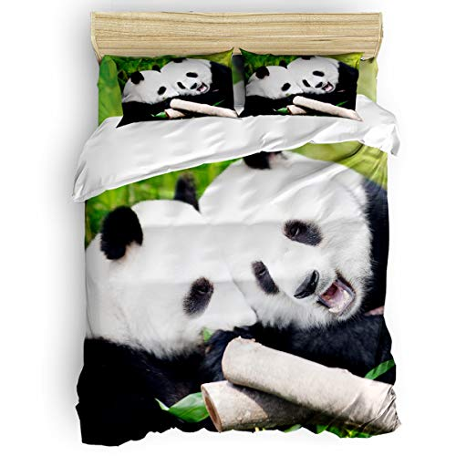 (Home Bedding Set 4 Piece Duvet Cover Set Full Size Funny Animal Bear Panda with Bamboo Pattern Soft Bed Sheets, Duvet Cover, Flat Sheet and Pillow Covers for Children/Adults/Teen )