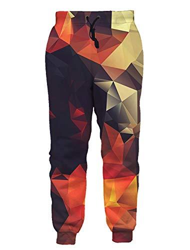 Teen Boys Girls 3D Print Pants Harem Geometric Diamond Orange Jogger Pants Funny Graphric Cargo Sweatpants with Pockets M