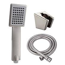 KES LP126-2 Bathroom Lavatory Single Function Handheld Shower Head with Hose and Bracket Modern Square, Brushed Nickel