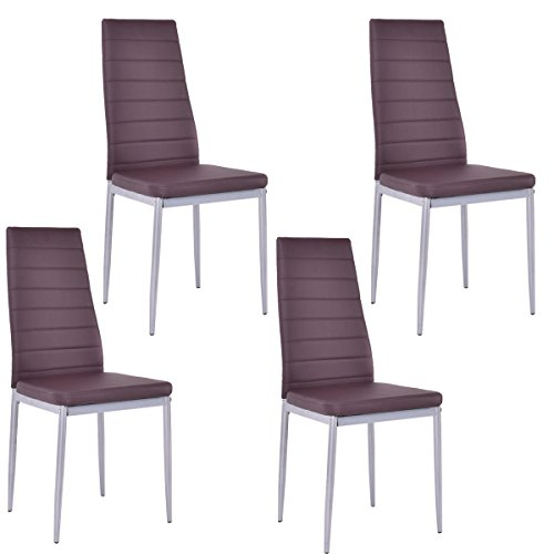 eight24hours-set-of-4-pu-leather-dining-side-chairs-elegant-design-home-furniture-brown-new-free-e-b