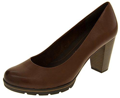 Marco Tozzi 22419-27 Mujer Cuero Gran Talón Zapatos Formales Marrón