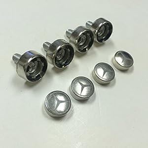 Set of 4 mercedes benz laser engraved license for Mercedes benz tag screws